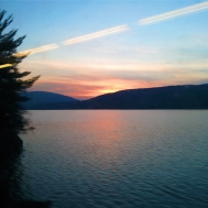 Sunset in the Hudson Valley on the Metro North train back to NYC from Breakneck Ridge, NY