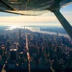 View of New York City while flying over Central Park - Hudson Valley, NY Flight