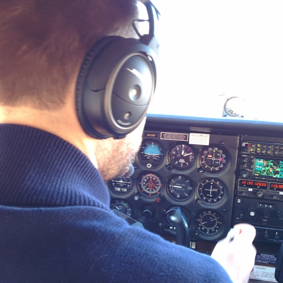 Simon piloting the plane during our flight over the Hudson Valley & New York City