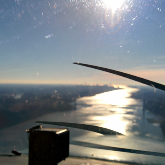 View of the Hudson Valley from the cockpit of a Cessna 172
