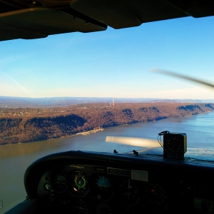 In the cockpit of a Cessna 172 above Hudson Valley, NY