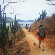 Hiking over the mountain to the beach Playa Grande