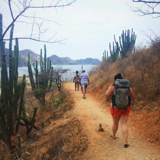 Hiking over the mountain to the beach Playa Grande