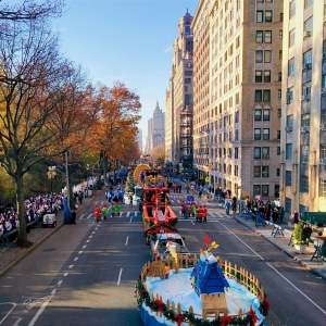 Floats preparing to start the Macy's Thanksgiving Day Parade 2015